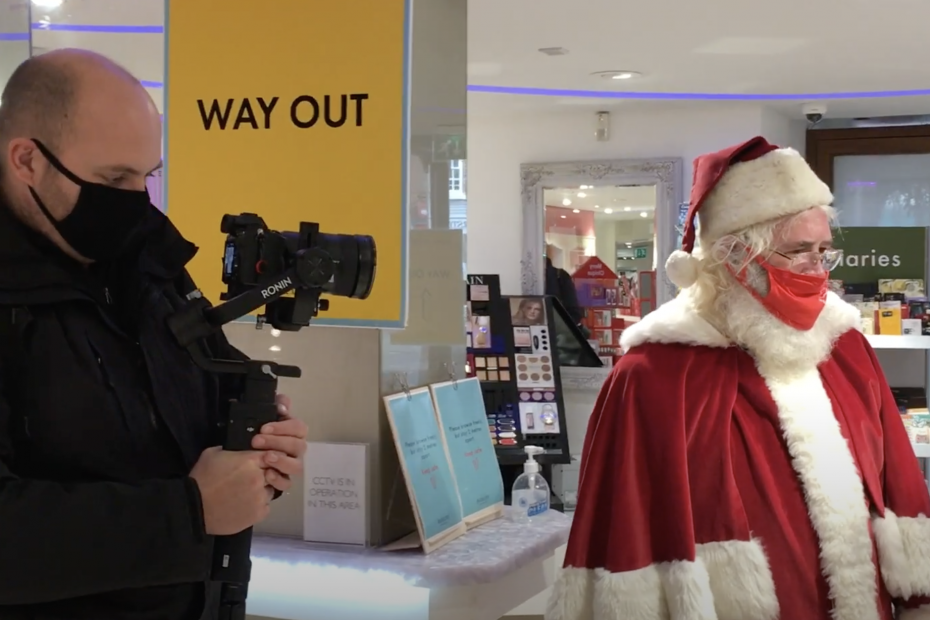 Image of filming with santa